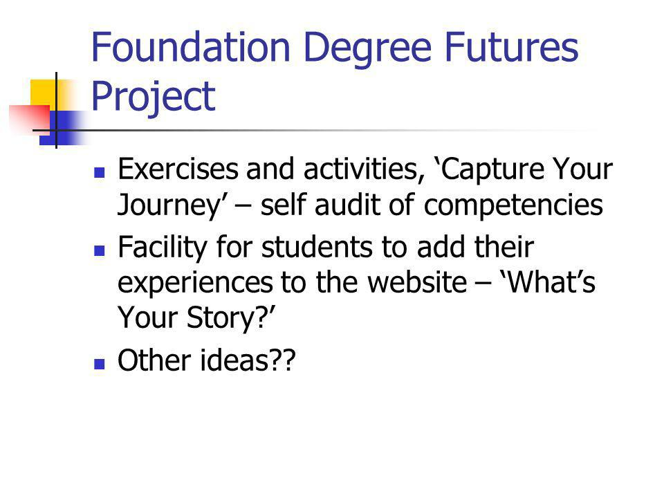 Foundation Degree Futures Project Exercises and activities, Capture Your Journey – self audit of competencies Facility for students to add their experiences to the website – Whats Your Story.