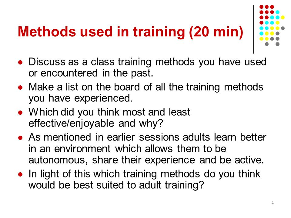 4 Methods used in training (20 min) Discuss as a class training methods you have used or encountered in the past. Make a list on the board of all the