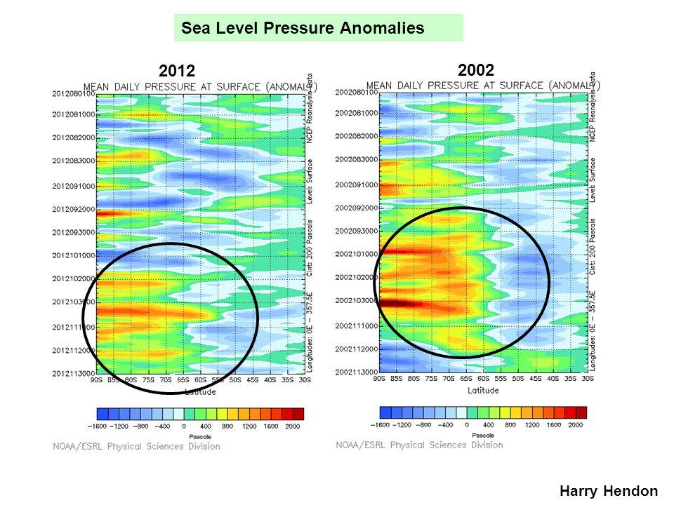 Sea Level Pressure Anomalies 2012 2002 Harry Hendon