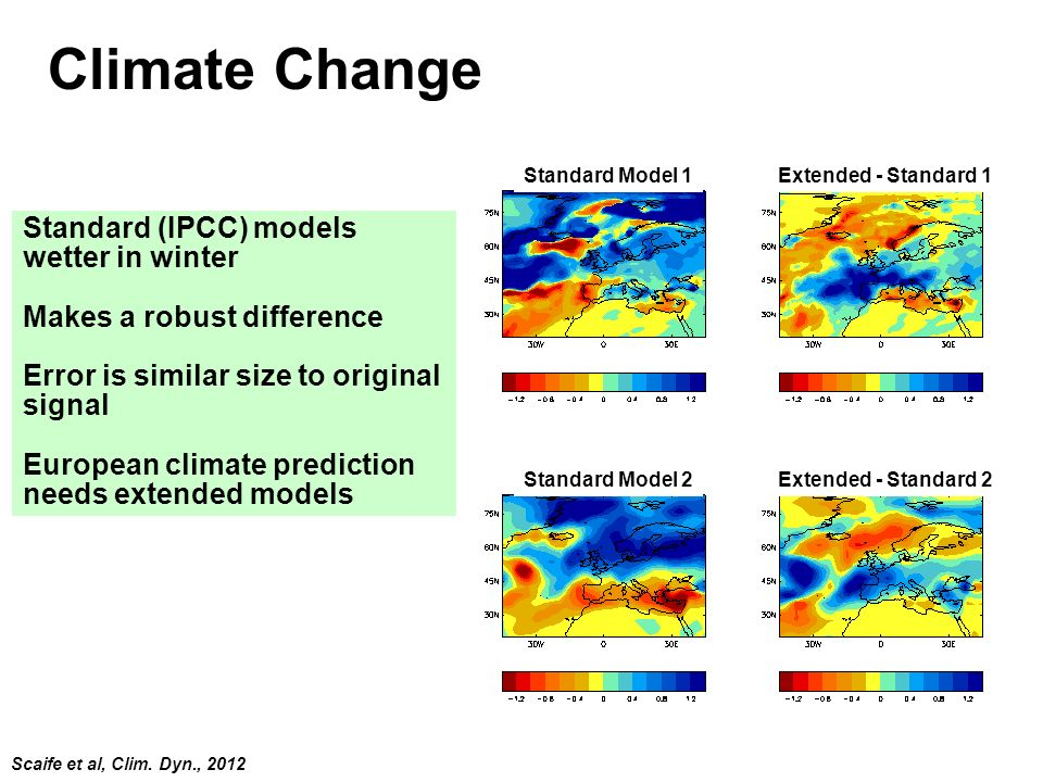 © Crown copyright Met Office Climate Change Standard (IPCC) models wetter in winter Makes a robust difference Error is similar size to original signal