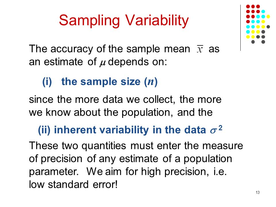 13 The accuracy of the sample mean as an estimate of depends on: (i)the sample size ( n ) since the more data we collect, the more we know about the p