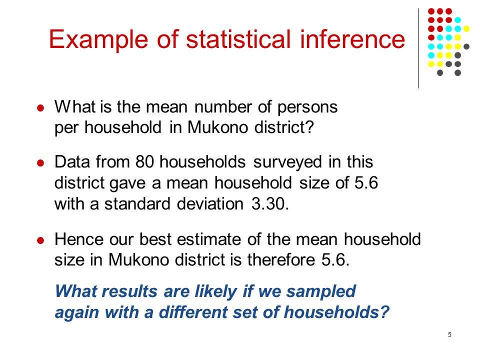 5 What is the mean number of persons per household in Mukono district? Data from 80 households surveyed in this district gave a mean household size of