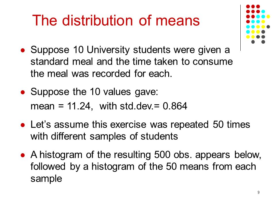 9 Suppose 10 University students were given a standard meal and the time taken to consume the meal was recorded for each. Suppose the 10 values gave: