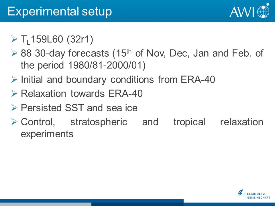 Experimental setup T L 159L60 (32r1) 88 30-day forecasts (15 th of Nov, Dec, Jan and Feb.