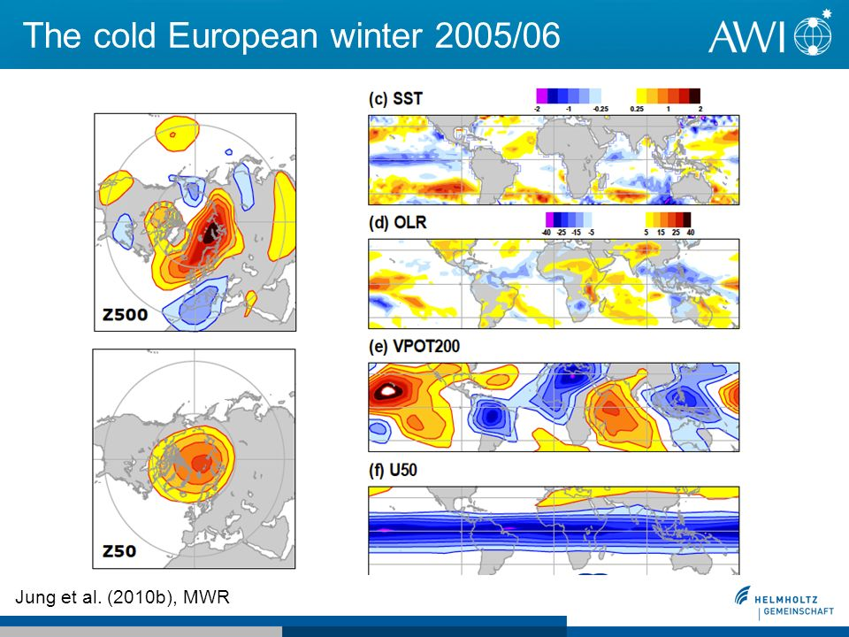 The cold European winter 2005/06 Jung et al. (2010b), MWR