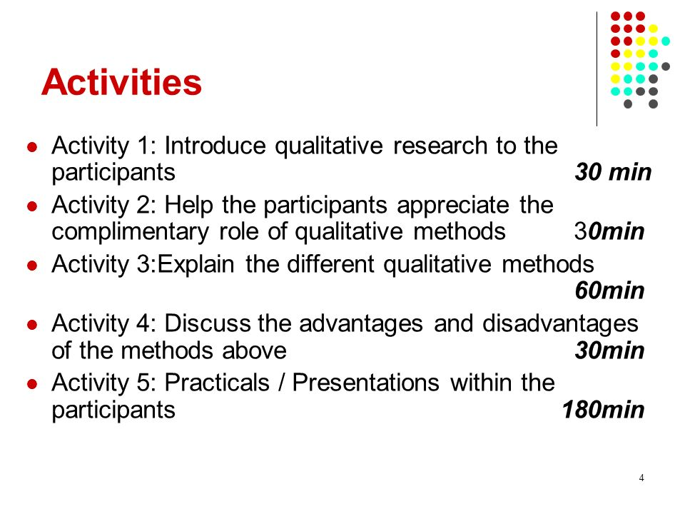 4 Activities Activity 1: Introduce qualitative research to the participants30 min Activity 2: Help the participants appreciate the complimentary role