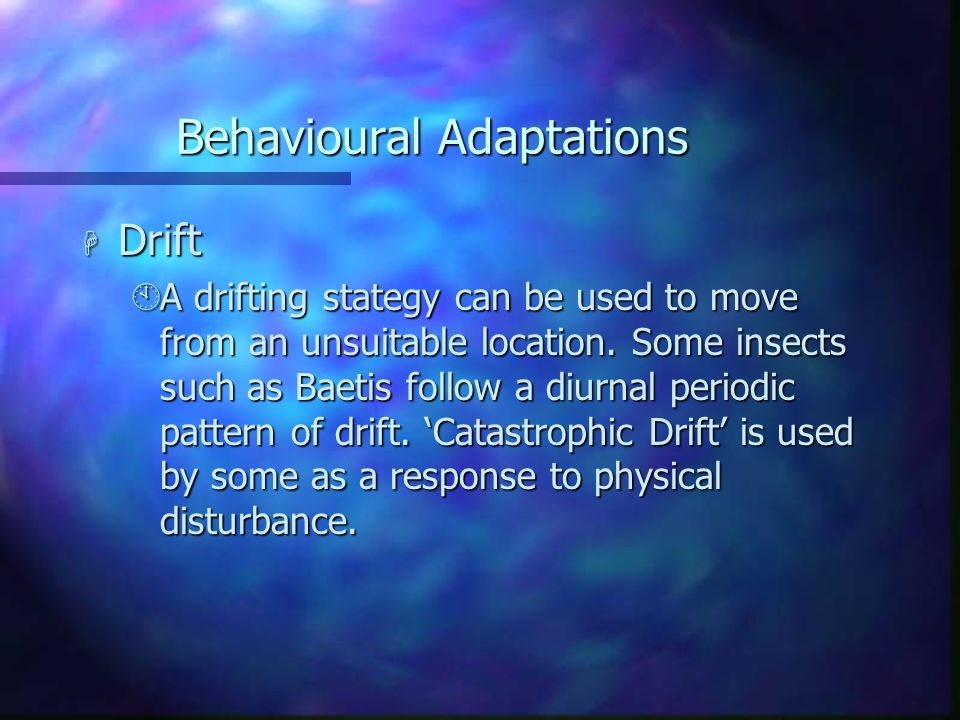 Behavioural Adaptations H Drift ÀA drifting stategy can be used to move from an unsuitable location. Some insects such as Baetis follow a diurnal peri