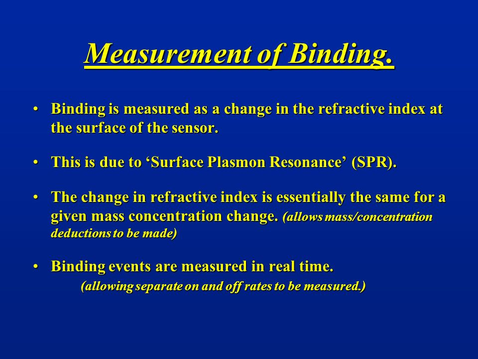 Measurement of Binding. Binding is measured as a change in the refractive index at the surface of the sensor.Binding is measured as a change in the re