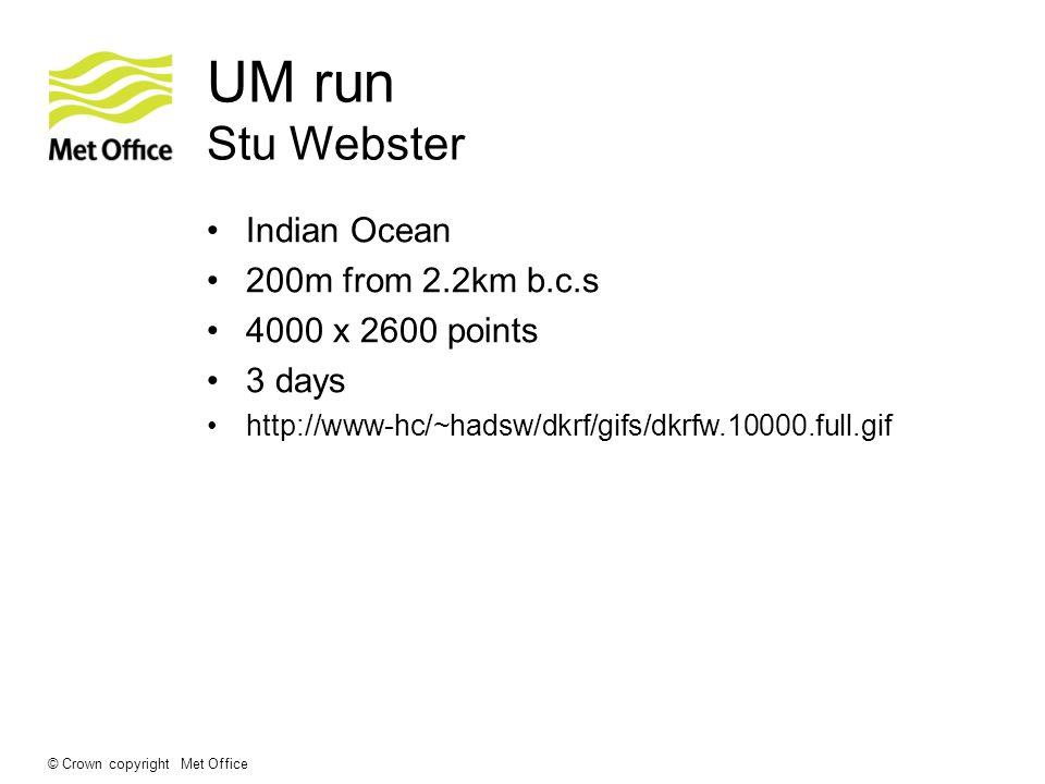 © Crown copyright Met Office UM run Stu Webster Indian Ocean 200m from 2.2km b.c.s 4000 x 2600 points 3 days http://www-hc/~hadsw/dkrf/gifs/dkrfw.1000