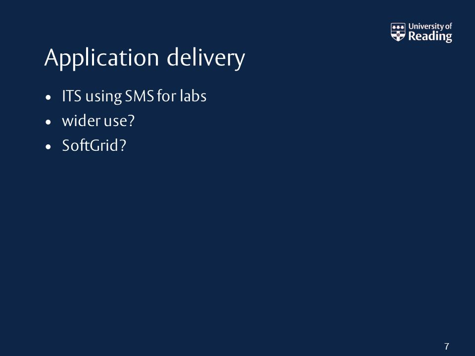 Application delivery ITS using SMS for labs wider use SoftGrid 7