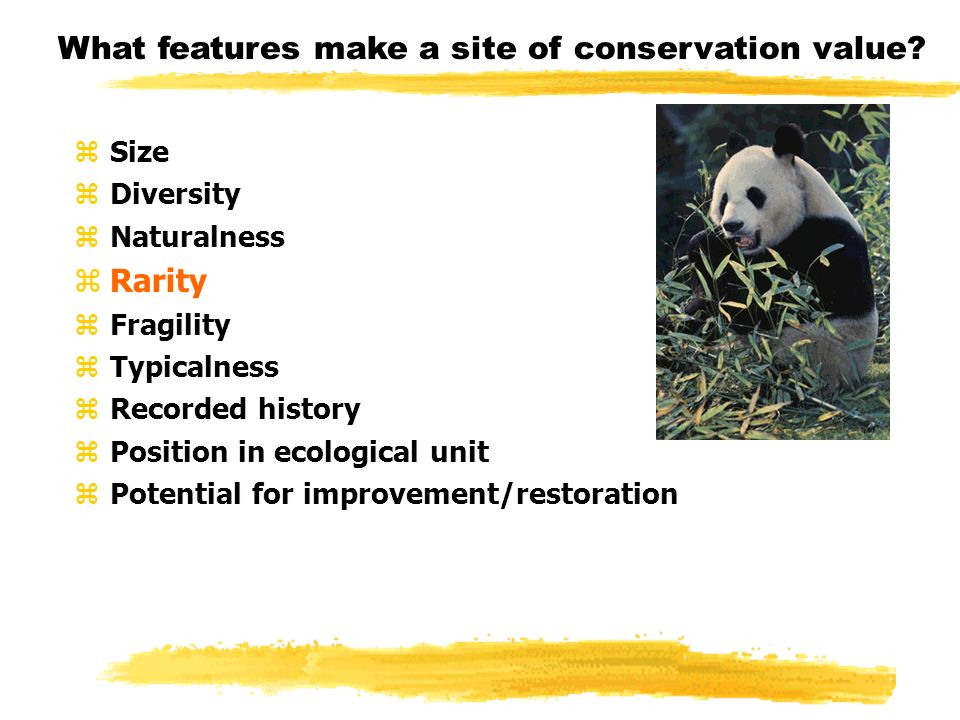 What features make a site of conservation value.