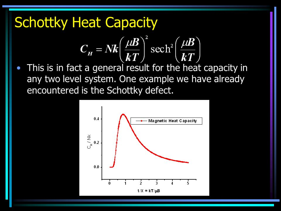 Schottky Heat Capacity This is in fact a general result for the heat capacity in any two level system.