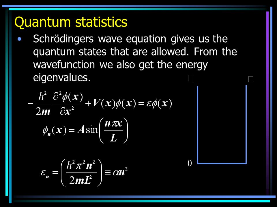 Quantum statistics Schrödingers wave equation gives us the quantum states that are allowed. From the wavefunction we also get the energy eigenvalues.