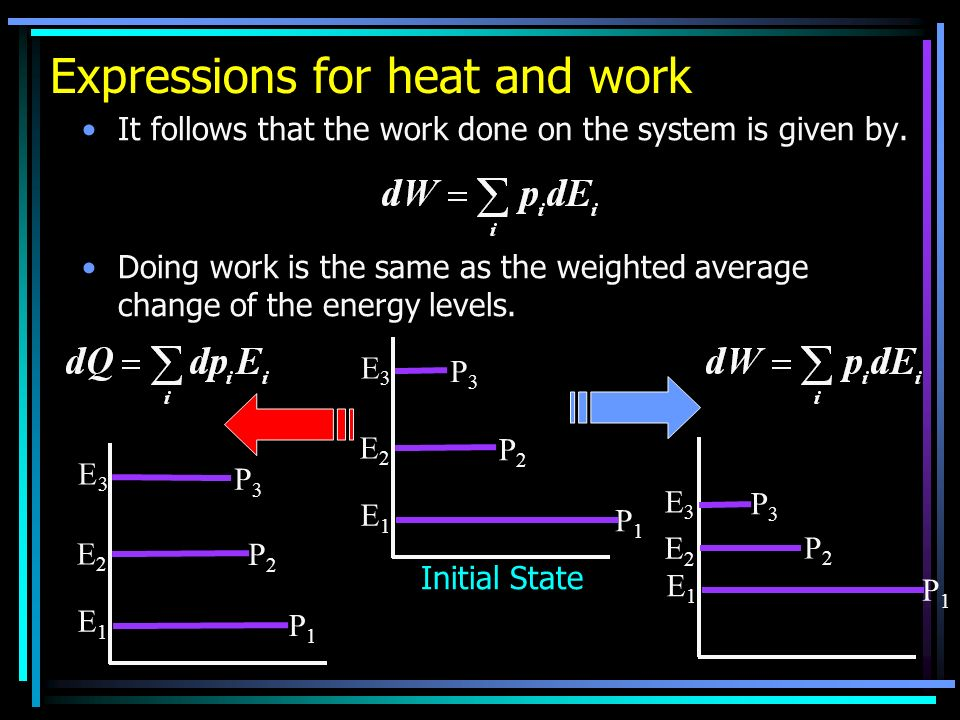 Expressions for heat and work It follows that the work done on the system is given by. Doing work is the same as the weighted average change of the en