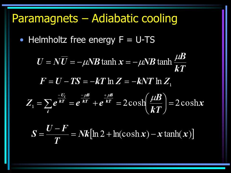 Paramagnets – Adiabatic cooling Helmholtz free energy F = U-TS