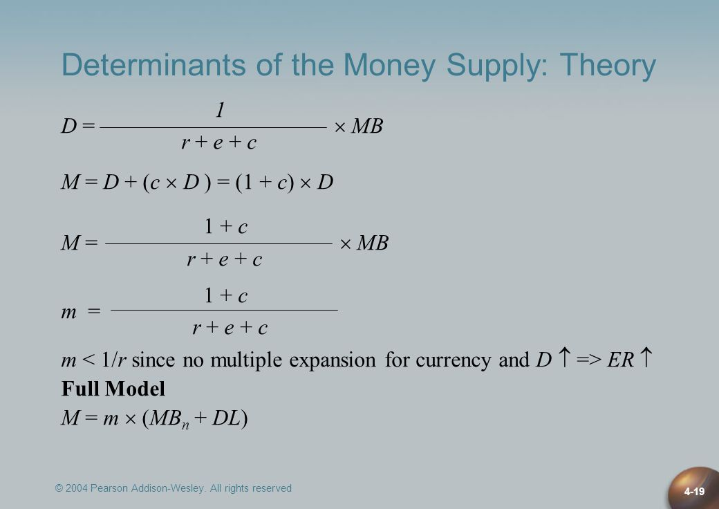 © 2004 Pearson Addison-Wesley. All rights reserved 4-19 Determinants of the Money Supply: Theory 1 D = MB r + e + c M = D + (c D ) = (1 + c) D 1 + c M