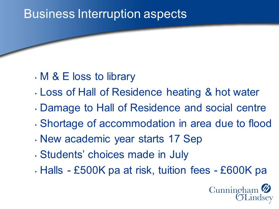 Business Interruption aspects M & E loss to library Loss of Hall of Residence heating & hot water Damage to Hall of Residence and social centre Shortage of accommodation in area due to flood New academic year starts 17 Sep Students choices made in July Halls - £500K pa at risk, tuition fees - £600K pa