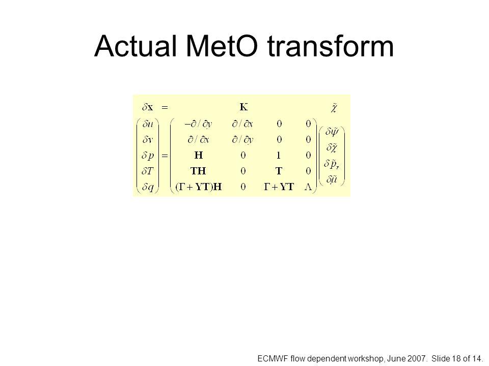 ECMWF flow dependent workshop, June 2007. Slide 18 of 14. Actual MetO transform