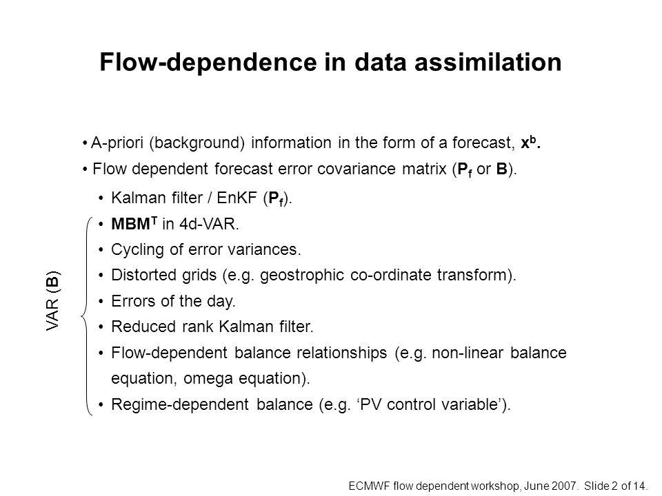 ECMWF flow dependent workshop, June 2007. Slide 2 of 14.
