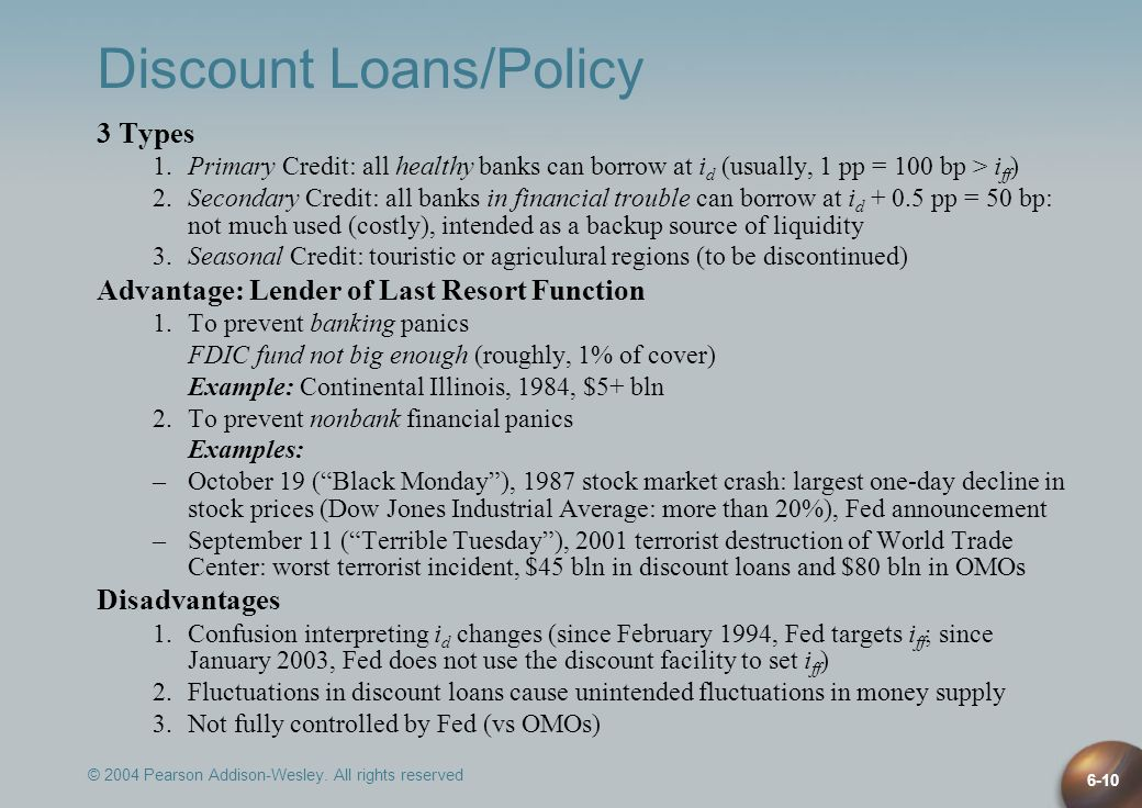 © 2004 Pearson Addison-Wesley. All rights reserved 6-10 Discount Loans/Policy 3 Types 1.Primary Credit: all healthy banks can borrow at i d (usually,