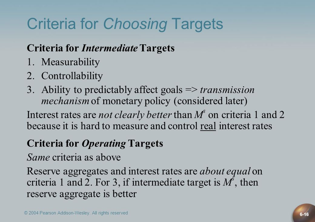 © 2004 Pearson Addison-Wesley. All rights reserved 6-16 Criteria for Choosing Targets Criteria for Intermediate Targets 1.Measurability 2.Controllabil