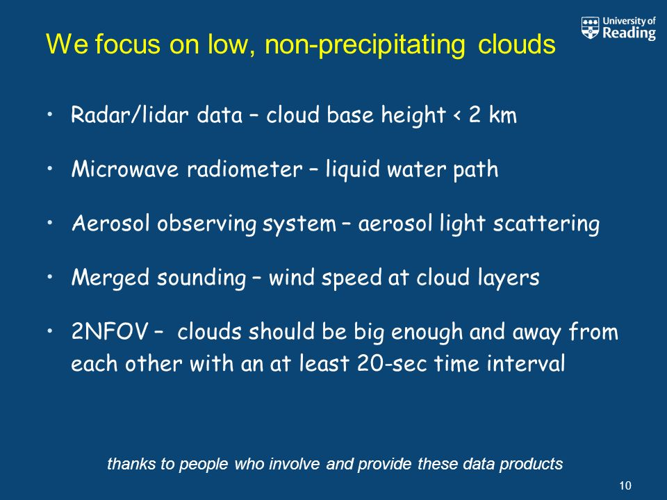 We focus on low, non-precipitating clouds 10 Radar/lidar data – cloud base height < 2 km Microwave radiometer – liquid water path Aerosol observing system – aerosol light scattering Merged sounding – wind speed at cloud layers 2NFOV – clouds should be big enough and away from each other with an at least 20-sec time interval thanks to people who involve and provide these data products