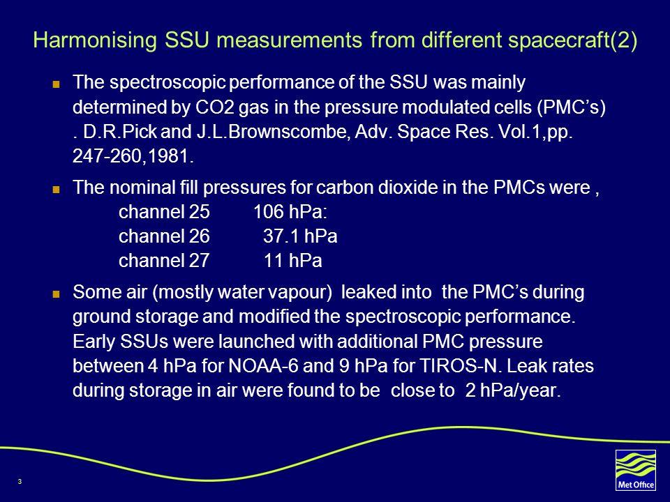 4 Harmonising SSU measurements from different spacecraft(3) After 1980, SSU storage was in dry nitrogen.