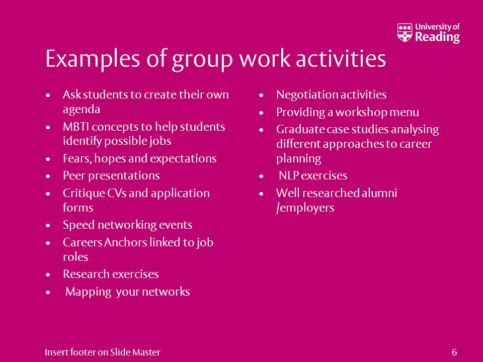 Insert footer on Slide Master6 Examples of group work activities Ask students to create their own agenda MBTI concepts to help students identify possi