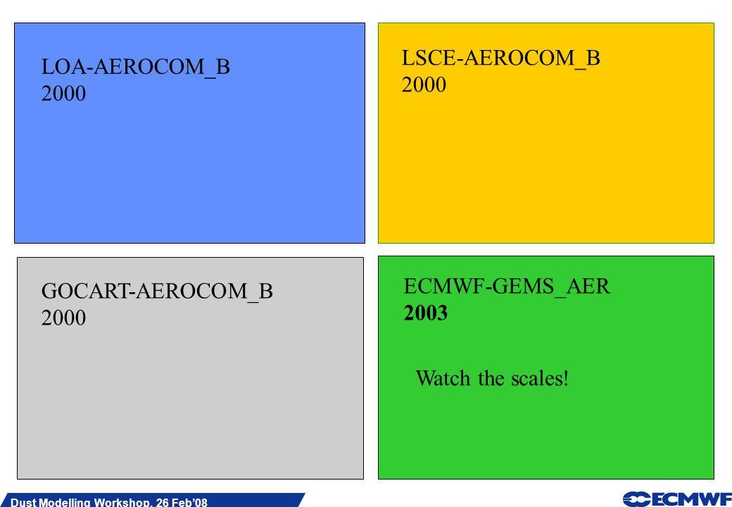Slide 20 Dust Modelling Workshop, 26 Feb08 LOA-AEROCOM_B 2000 LSCE-AEROCOM_B 2000 GOCART-AEROCOM_B 2000 ECMWF-GEMS_AER 2003 Watch the scales!