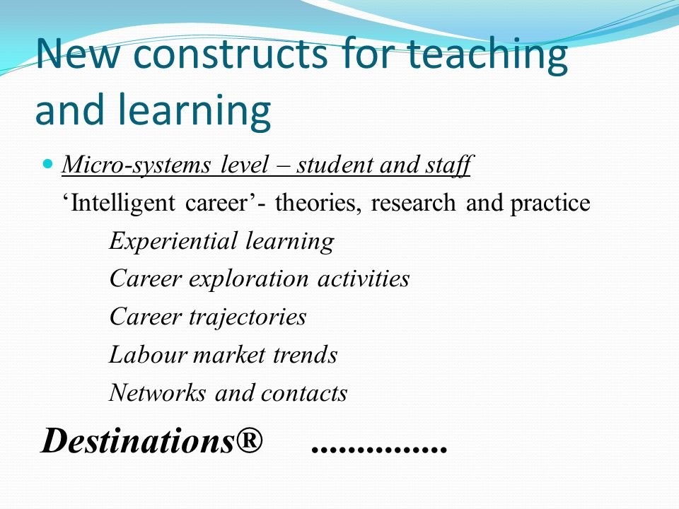 New constructs for teaching and learning Micro-systems level – student and staff Intelligent career- theories, research and practice Experiential learning Career exploration activities Career trajectories Labour market trends Networks and contacts Destinations®...............