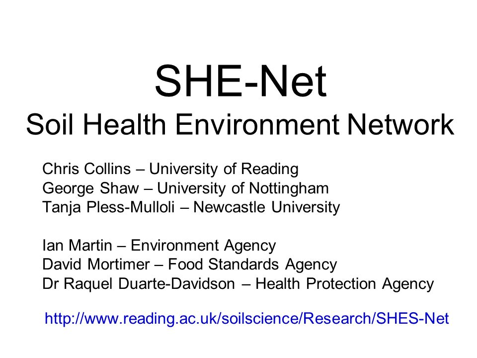 SHE-Net Soil Health Environment Network Chris Collins – University of Reading George Shaw – University of Nottingham Tanja Pless-Mulloli – Newcastle University Ian Martin – Environment Agency David Mortimer – Food Standards Agency Dr Raquel Duarte-Davidson – Health Protection Agency