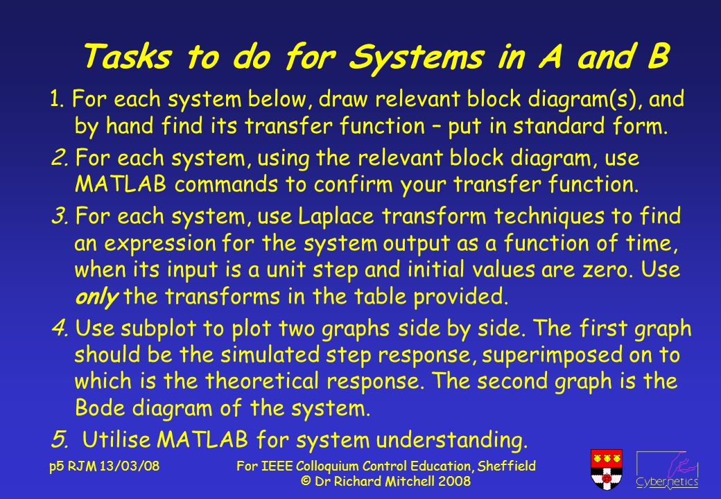 p5 RJM 13/03/08For IEEE Colloquium Control Education, Sheffield © Dr Richard Mitchell 2008 Tasks to do for Systems in A and B 1.