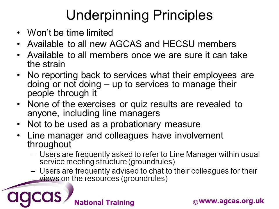 National Training Underpinning Principles Wont be time limited Available to all new AGCAS and HECSU members Available to all members once we are sure it can take the strain No reporting back to services what their employees are doing or not doing – up to services to manage their people through it None of the exercises or quiz results are revealed to anyone, including line managers Not to be used as a probationary measure Line manager and colleagues have involvement throughout –Users are frequently asked to refer to Line Manager within usual service meeting structure (groundrules) –Users are frequently advised to chat to their colleagues for their views on the resources (groundrules) www.agcas.org.uk ©