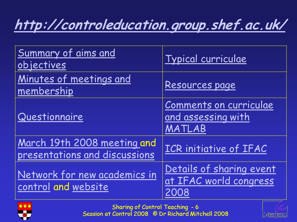 Sharing of Control Teaching - 17 Session at Control 2008 © Dr Richard Mitchell 2008 Industrial perspective The industrial view point collected via a small survey was very close to the academic one.