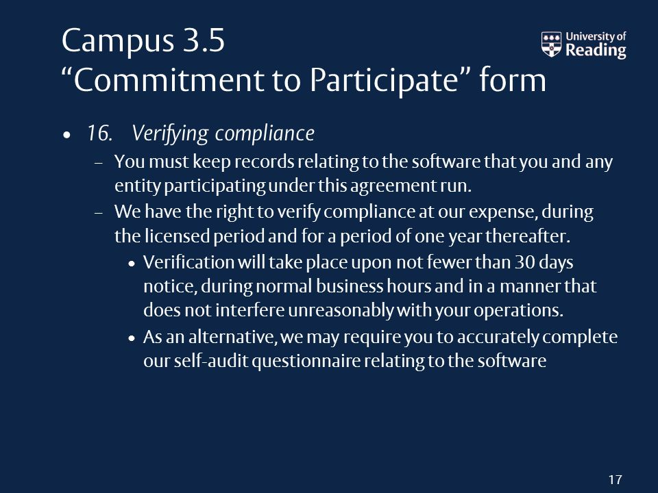 Campus 3.5 Commitment to Participate form 16.
