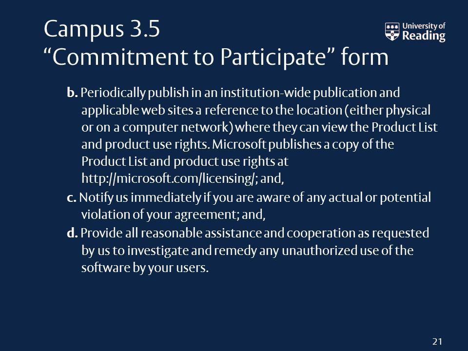 Campus 3.5 Commitment to Participate form b. Periodically publish in an institution wide publication and applicable web sites a reference to the locat