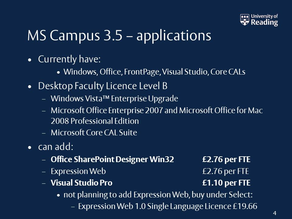MS Campus 3.5 – applications Currently have: Windows, Office, FrontPage, Visual Studio, Core CALs Desktop Faculty Licence Level B – Windows Vista Ente