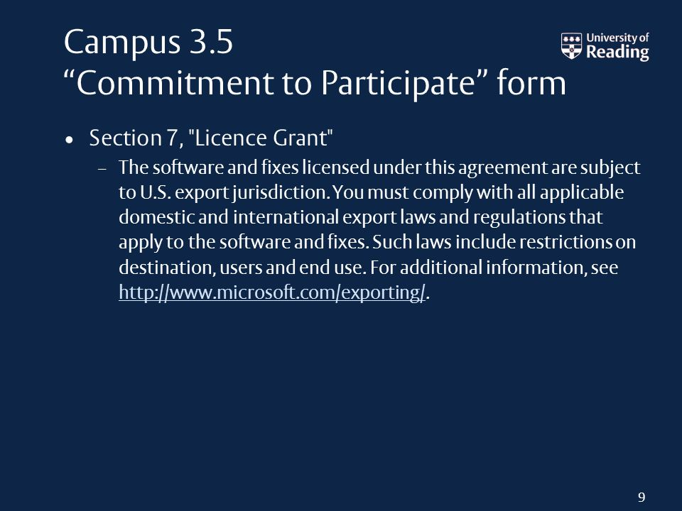 Campus 3.5 Commitment to Participate form Section 7,