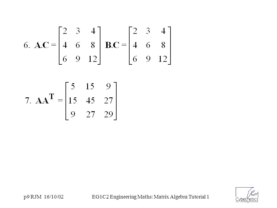 p9 RJM 16/10/02EG1C2 Engineering Maths: Matrix Algebra Tutorial 1