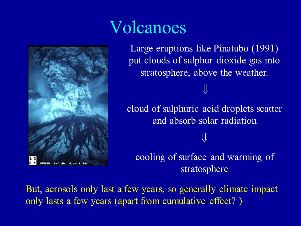 Volcanoes Large eruptions like Pinatubo (1991) put clouds of sulphur dioxide gas into stratosphere, above the weather. cloud of sulphuric acid droplet
