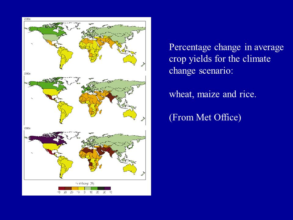 Percentage change in average crop yields for the climate change scenario: wheat, maize and rice. (From Met Office)