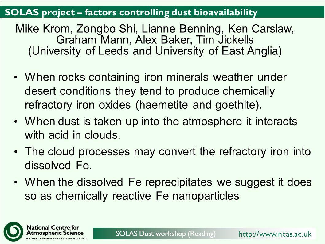 http://www.ncas.ac.uk SOLAS Dust workshop (Reading) SOLAS project – factors controlling dust bioavailability When rocks containing iron minerals weath