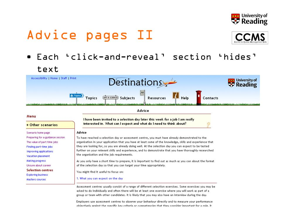 Advice pages III And gives deep links to relevant pages in Destinations ® and videos