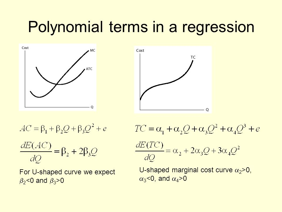 Polynomial terms in a regression For U-shaped curve we expect 2 0 U-shaped marginal cost curve 2 >0, 3 0