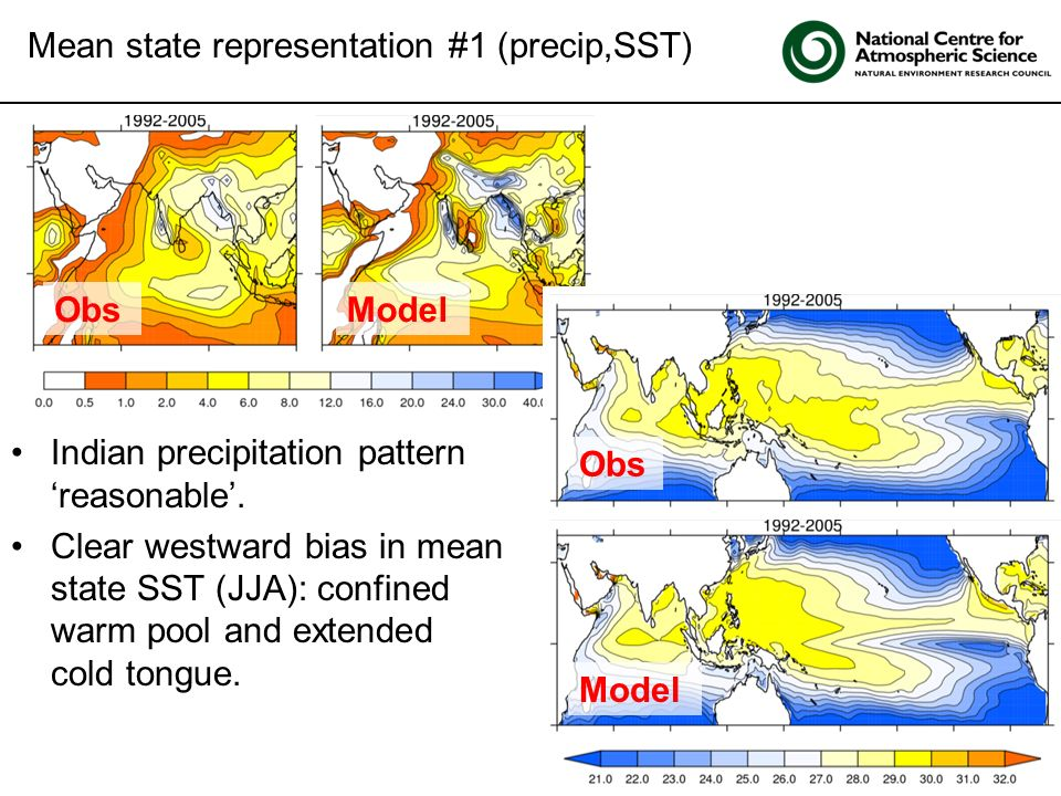Click to edit Master title style Mean state representation #1 (precip,SST) ObsModel Obs Indian precipitation pattern reasonable. Clear westward bias i