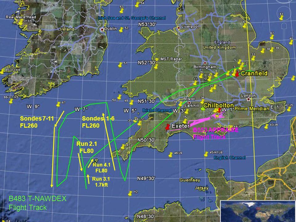 Sondes 1-6 FL260 Sondes 7-11 FL260 Run 2.1 FL80 Run 3.1 1.7kft Run 4.1 FL80 B483 T-NAWDEX Flight Track B553 APPRAISE Flight Track