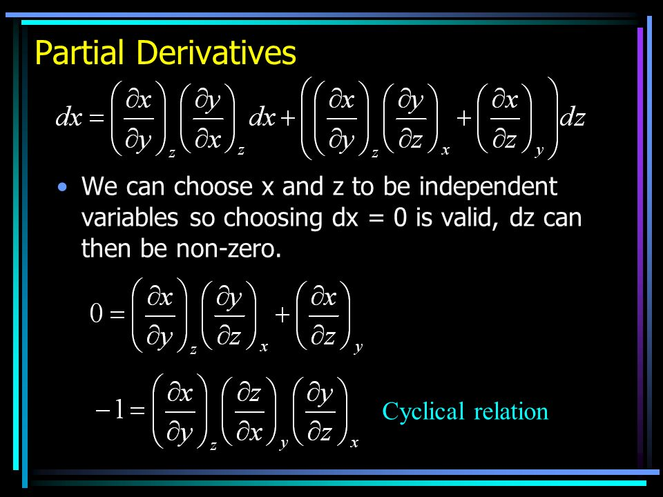 Partial Derivatives We can choose x and z to be independent variables so choosing dx = 0 is valid, dz can then be non-zero.