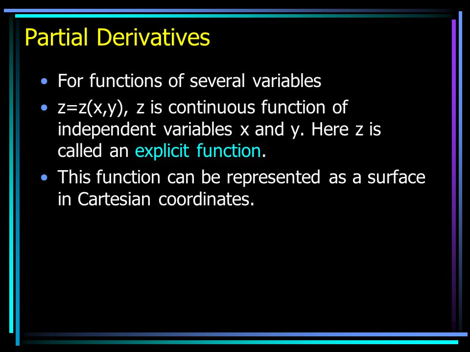 Partial Derivatives Imagine the surface intersects a planar surface parallel to the z-x plane which cuts the y-axis at y.
