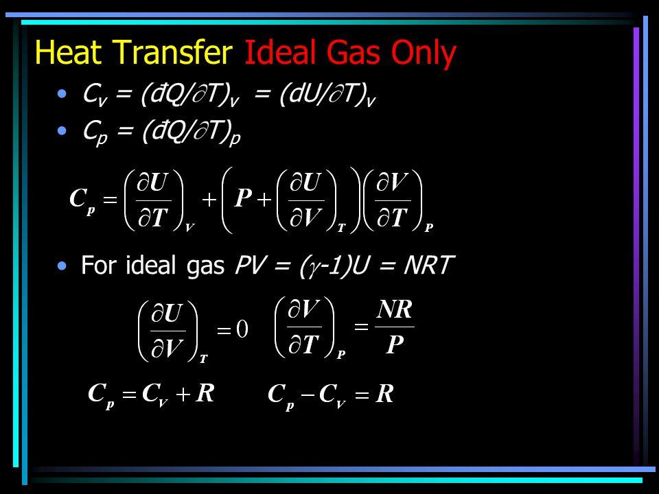 Heat Transfer Ideal Gas Only C v = (đQ/ T) v = (dU/ T) v C p = (đQ/ T) p For ideal gas PV = ( -1)U = NRT
