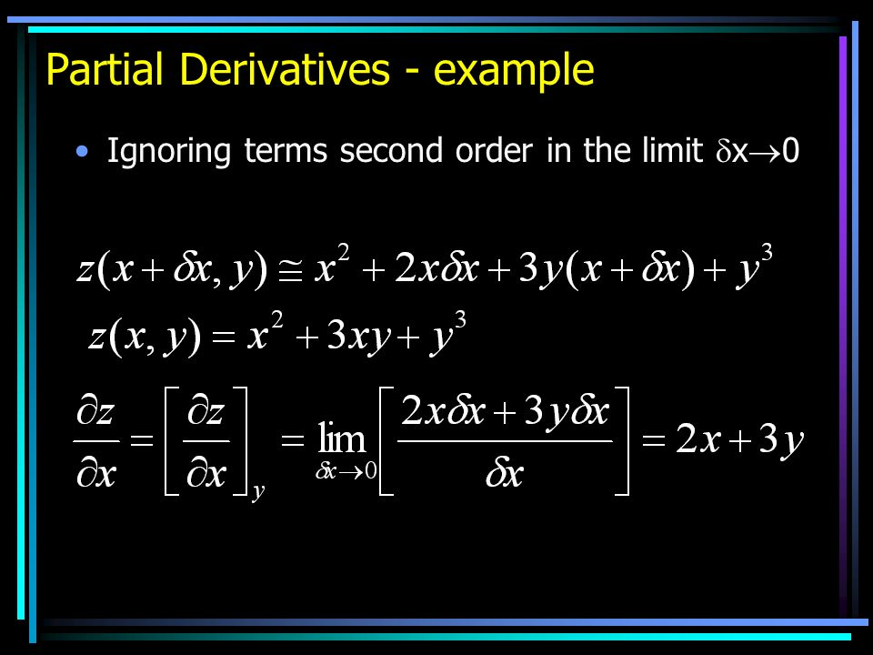 Partial Derivatives - example Ignoring terms second order in the limit x 0
